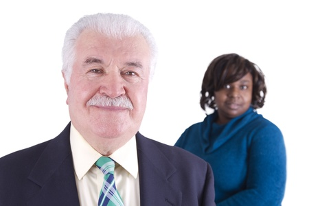 Older Business Man and his Partner Stock Photo