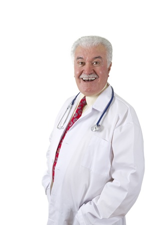 Mischievously Happy Doctor smiling at you with his stethoscope Stock Photo