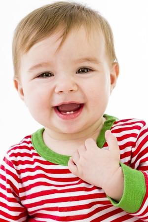 Teeths 긍정적 인 미소로 성장하고있다. 잠옷 잠을 준비 Gatting. 스톡 콘텐츠
