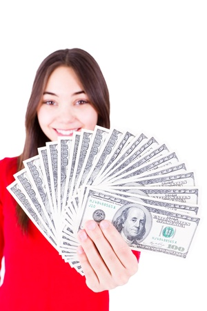 all in one: Money In Teenager Hands,  Teenager holding and showing all one hundred dollar banknotes in her red shirt with a sweet smile  Isolated on white background