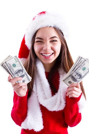 all in one: Santa brought me banknotes, young girl holding all one hundred dollar banknotes   Isolated on white background