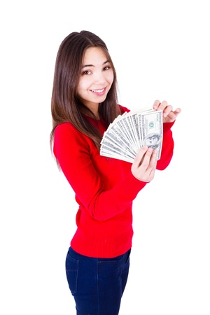 all in one: Young woman holding all one hundred dollar banknotes  Slim girl in red catchy sweter and jeans, isolated on white background