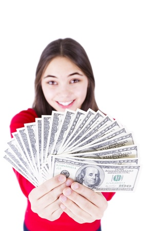 all in one: Young girl holding her paycheck, all one hundred dollar banknotes, asking what would you do with all this money, All one hundreds  Isolated on white background