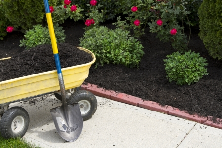 Its about that time to mulch around the neigboorhood. Stock Photo