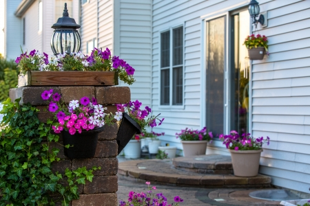 Brick Patio steps and pillar covered with climbing plant and petunias. Light on the pillar and on the wall of the house.