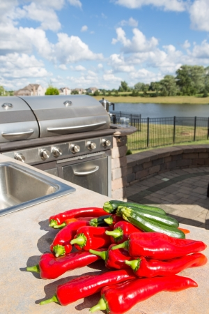 A bunch of chili and zuccinis placed on the outdoor kitchens concrete countertop photo