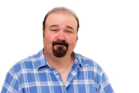 awkwardness: Speechless Caucasian middle-aged man wearing a casual checkered shirt, portrait on white background