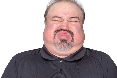 cheek: Big man getting ready to expload, perhaps he ate too much Stock Photo