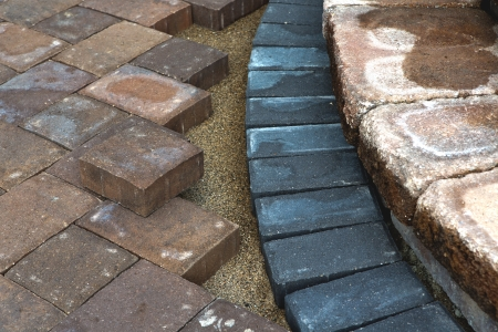Paving Around Patio Steps With Diffrent Color Tumbled Pavers Stock Photo    22259839
