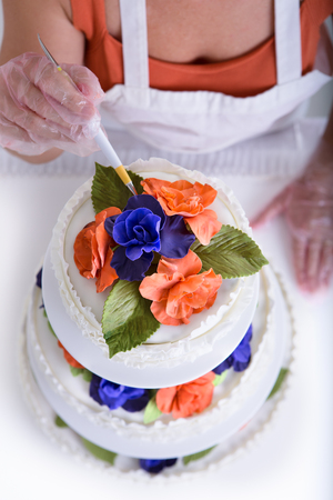 Woman doing latest touches to a cake with her gloves on, shot from above, cake have orange and purple flowers with green leaves photo