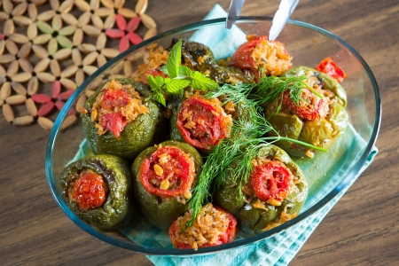 Turkish Stuffed green bell pepper dolmas ready to serve photo