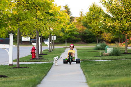 Young boy walking the dog with his tricycle on the nicely cut grasses in their neighborhood