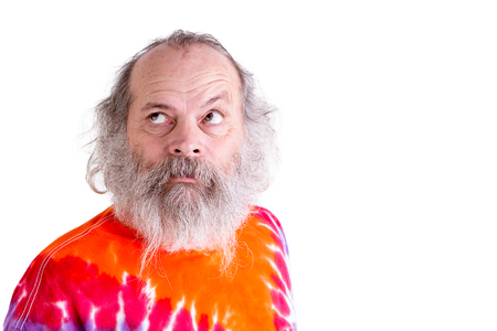 baby boomer: Searching for answers look coming from baby boomer generation senior male, he is looking up with his grey hair and long beard