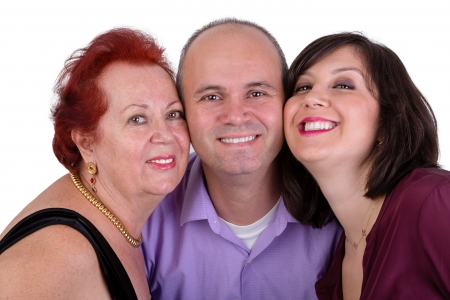 daughter in law: Happy man with his mother and sister together close portrait Perhaps it