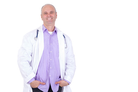 Middle age male practitioner doctor looking at you relaxed with a confident genuine smile