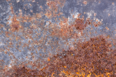 pitted: Grungy old rusting metal surface with pitted flaking blue paint and red ferric oxides or corroded rust caused by moisture and weathering, background texture