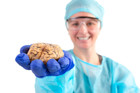 pathologist: Female pathologist or medical technologist holding a cow brain in her hand extended towards the camera, isolated on white