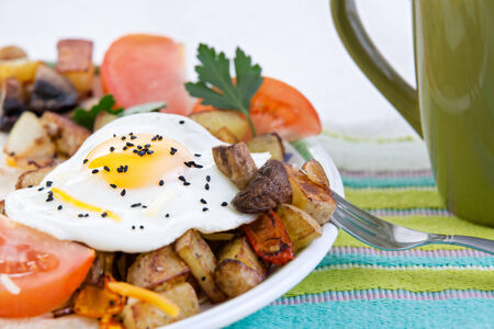 cholesterol free: Tasty meal of a farm fresh fried egg with a rich yellow yolk served sunny side up with vegetables including savoury mushrooms, potato and tomato garnished with parsley on a colourful placemat