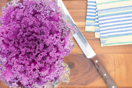 potherb: Preparing purple kale for cooking in the kitchen with an overhead view of a whole fresh leafy head alongside a knife and cloth on a new wooden cutting board