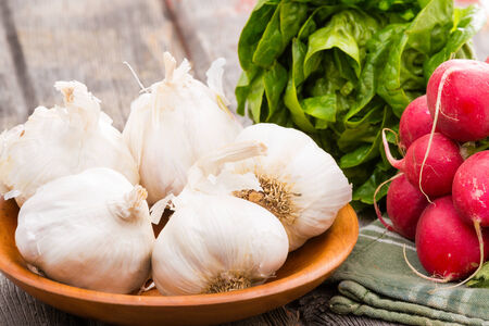 potherb: Fresh healthy whole garlic bulbs,. a bunch of crisp red radish and leafy green lettuce ready to make a delicious salad as an accompaniment to a meal