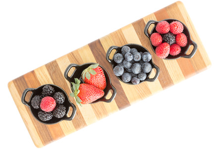 Varieties of fresh berries with raspberries, blueberries, blackberries and strawberries  photo