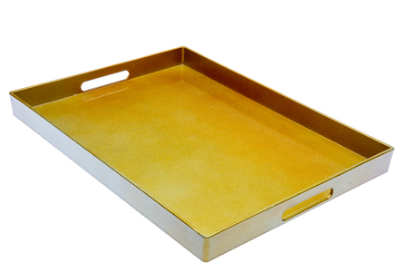 Golden color isolated empty tray waiting to serve foods and drinks photo