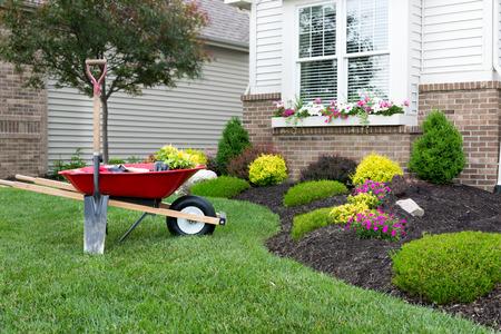 Schubkarre auf einem ordentlich gepflegten grünen Rasen neben einem Blumenbeet beim Pflanzen eines celosia Blumengarten rund um ein Haus mit frischem Quell Pflanzen Standard-Bild