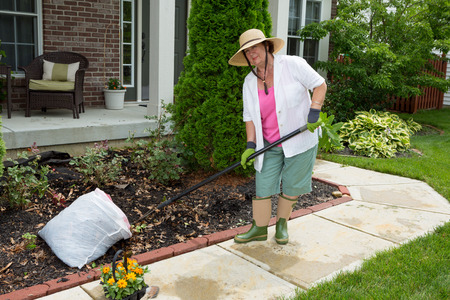 mulch: Old lady at work in the garden cleaning flowerbeds ready for transplanting her new flowering plants purchased at the nursery Stock Photo