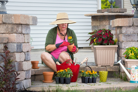 transplanting: Senior lady sitting on her patio steps potting up plants in flowerpots to decorate the house transplanting new nursery seedlings in her straw sunhat and gardening gloves Stock Photo