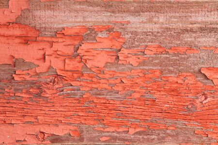 disintegrating: Close up Authentic Wooden Wall with Peeling Off Red Paint for Backgrounds Stock Photo