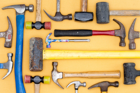 tool kit: Display of a diversity of hammers in a tool kit for DIY Stock Photo