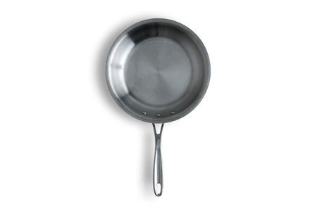 Close up Un Clean cuisine en acier Poêle Isolé sur un fond blanc avec espace de copie. Banque d'images - 38784614