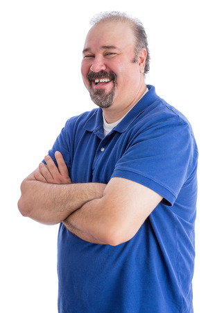 Portrait of a Happy Bearded Adult Man in a Toothy Smile, Looking at the Camera with Closed Arms. Isolated on White.