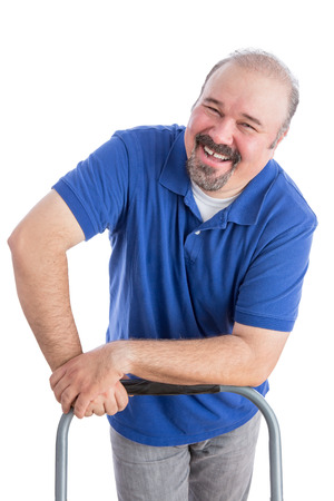 amiable: Happy Adult Male Worker Leaning Against the Chair, Showing a Genuine Toothy Smile While Looking at the Camera. Isolated on White. Stock Photo