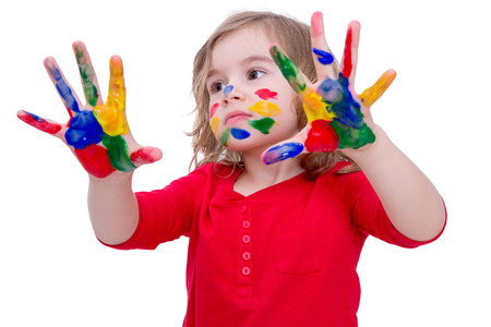daubed: Close up Cute Little Blond Girl Showing her Two Hands with Colorful Paints, Isolated on White Background.
