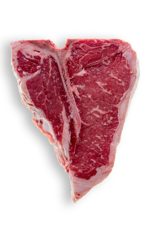 Close up Slice of an Uncooked Fresh T-Bone Steak Meat Isolated on a White