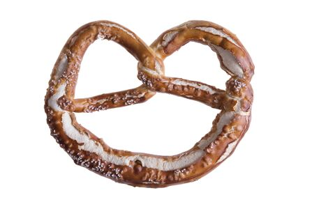 tied down: Isolated traditional knot-shaped pretzel, a hard brittle salted biscuit of German origin served as a popular snack and appetizer