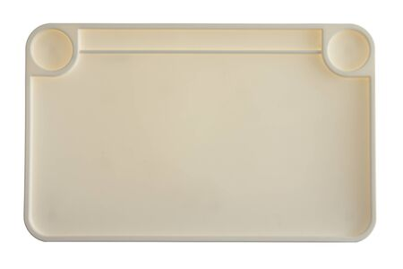 compartments: High Angle View of Empty Plastic Food or Supply Tray with Separate Compartments on White Background