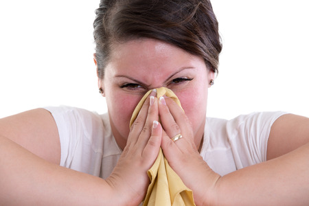 Blowing your nose too hard can cause bleeding and brain damage Stock Photo