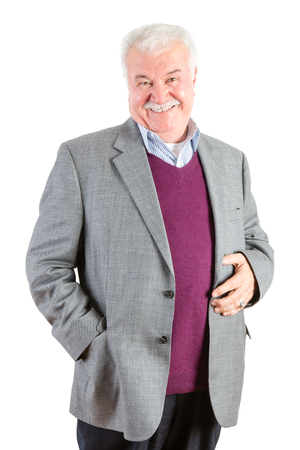 portly: Front View Three Quarter Shot of a Cheerful Senior Businessman Having a Genuine Smile at the Camera Against White Background.