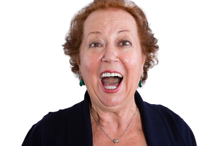 Close up Shocked Face of a Senior Woman Looking at the Camera with Mouth Wide Open, Isolated on White Background. Banco de Imagens - 48073320