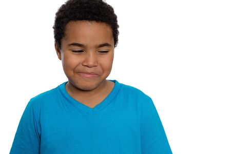 eight year old: Close up Eight Year Old Boy with Curly Hair Looking Sideways with Smiling Face, Isolated on White Background. Stock Photo