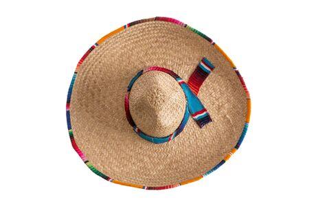 chapeau de paille: Surprise - ce qui est caché sous le large bord du chapeau traditionnel sombrero, symbolique du Mexique, Voyage et tourisme, vue de dessus isolé sur blanc