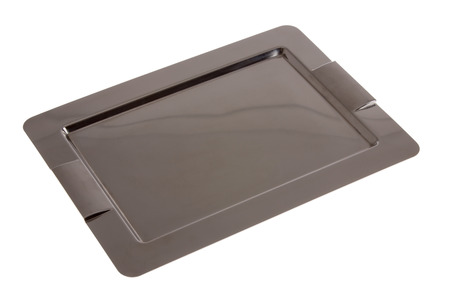 beverage display: Empty rectangular stainless steel tray with integral handles for serving food and beverages viewed high angle on a white background