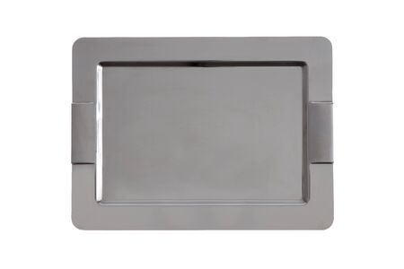 Stylish stainless steel tray with rounded chamfered corners and integrated handles for use in catering to serve food and beverages, overhead view isolated on white