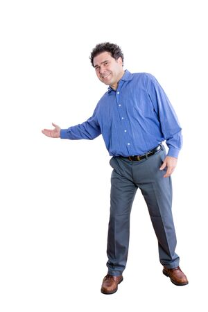 Full Length Shot of a Happy Male Office Worker Showing a Welcome Gesture While Looking at the Camera. Isolated on a White Background.