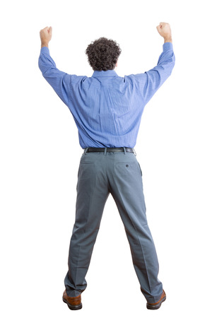 solicit: Full length Rear View Shot of a Middle-Aged Businessman Raising his Two Fists Up High Against White Background. Stock Photo