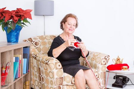 pleasure craft: Happy senior lady enjoying her knitting as she sits at home in an armchair relaxing with a colorful arrangement of festive red poinsettia on a bookcase beside her