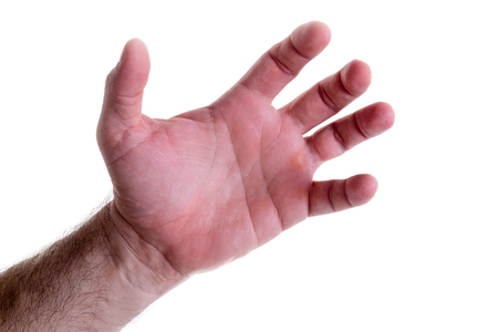 extremity: Grasping muscular left male hand with flexed fingers and thumb isolated on white in a concept of help and assistance