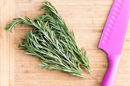 italian cusine: Bunch of aromatic fresh rosemary on a wooden chopping board with a colorful pink plastic knife ready to be chopped as an ingredient in savory cooking, overhead view Stock Photo